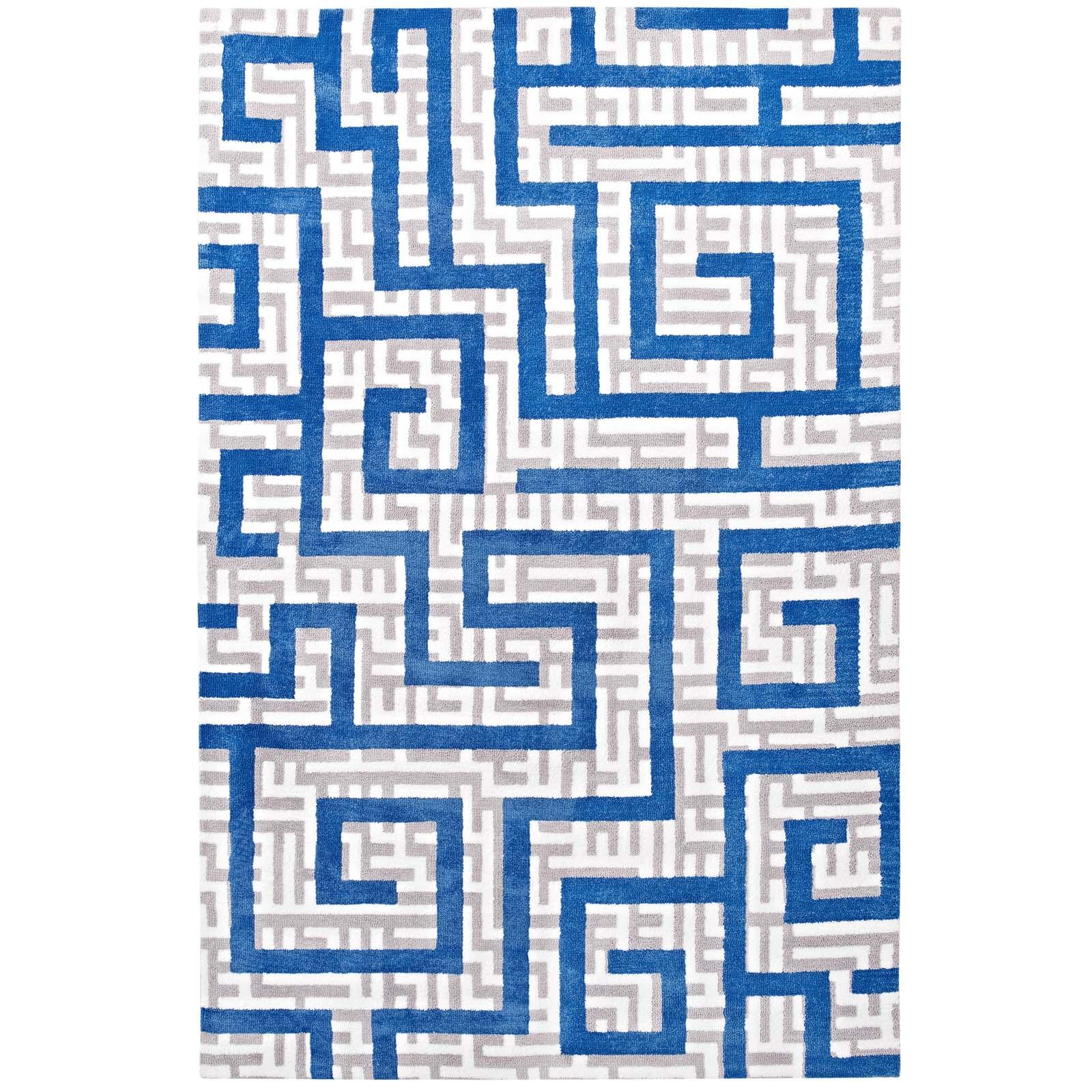 Nahia Geometric Maze 8x10 Area Rug Ivory, Light Gray and Blue R-1015A-810