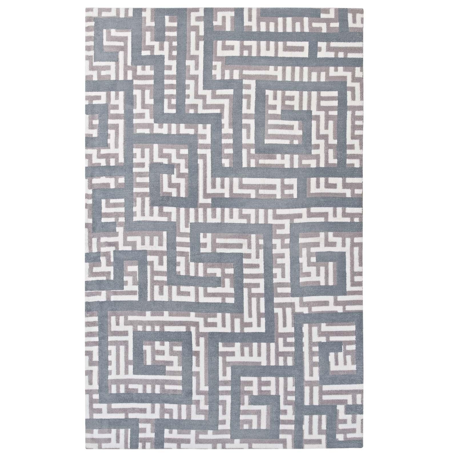 Nahia Geometric Maze 8x10 Area Rug Ivory, Light Gray and Sky Blue R-1015B-810