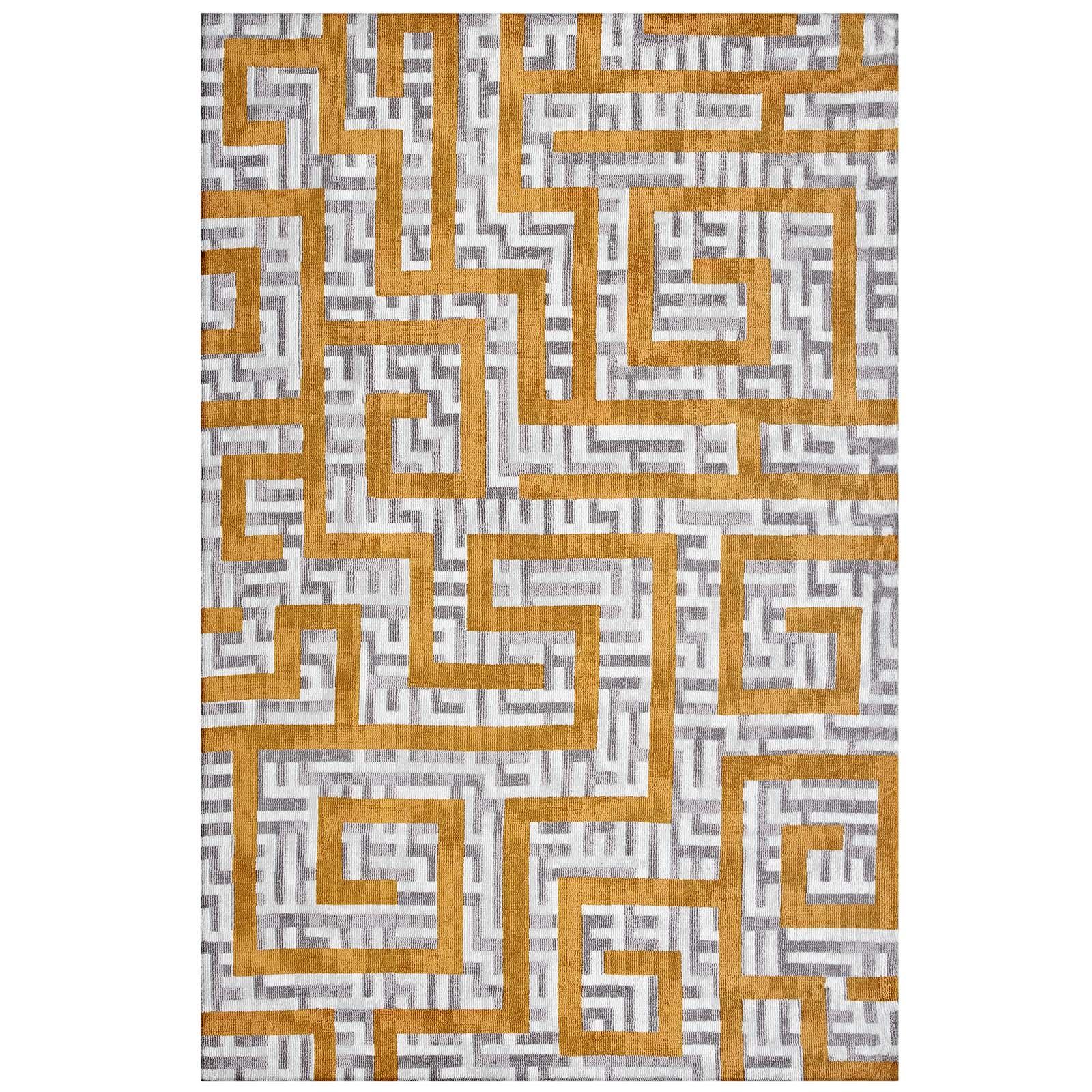 Nahia Geometric Maze 8x10 Area Rug Ivory, Light Gray and Banana Yellow R-1015C-810