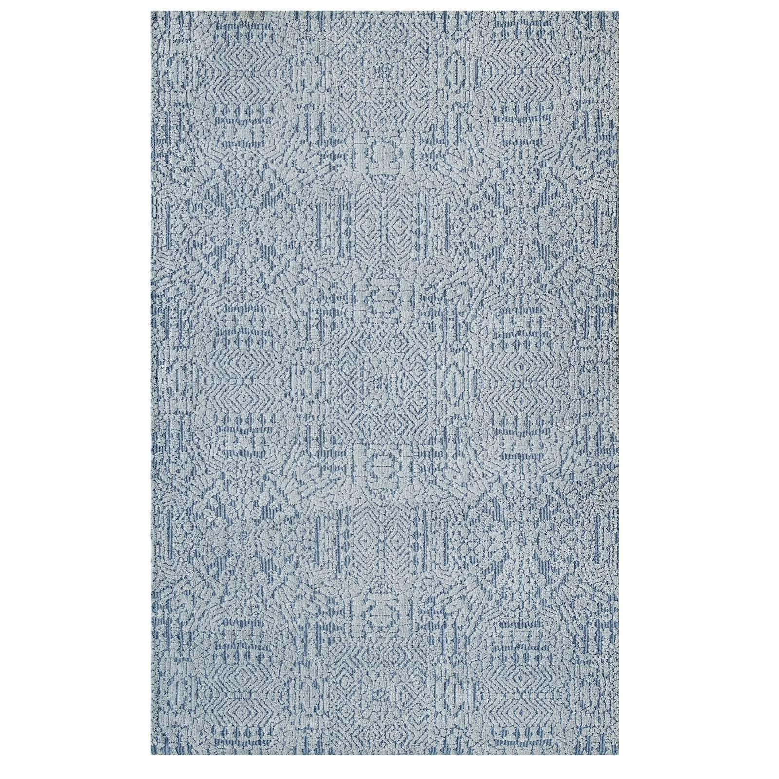 Javiera Contemporary Moroccan 8x10 Area Rug Ivory and Light Blue R-1018A-810