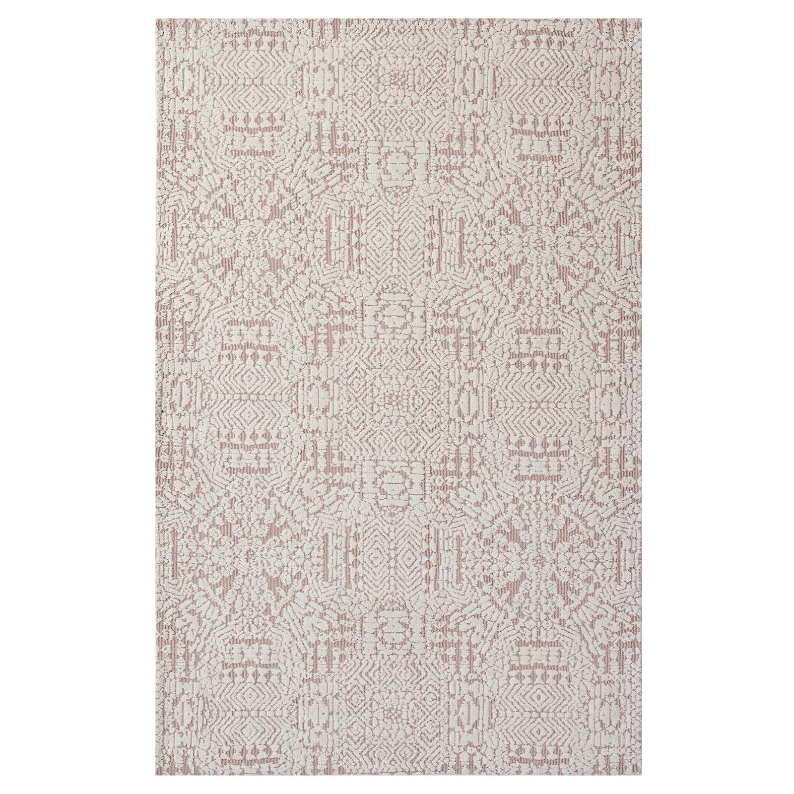 Javiera Contemporary Moroccan 5x8 Area Rug Ivory and Cameo Rose R-1018B-58