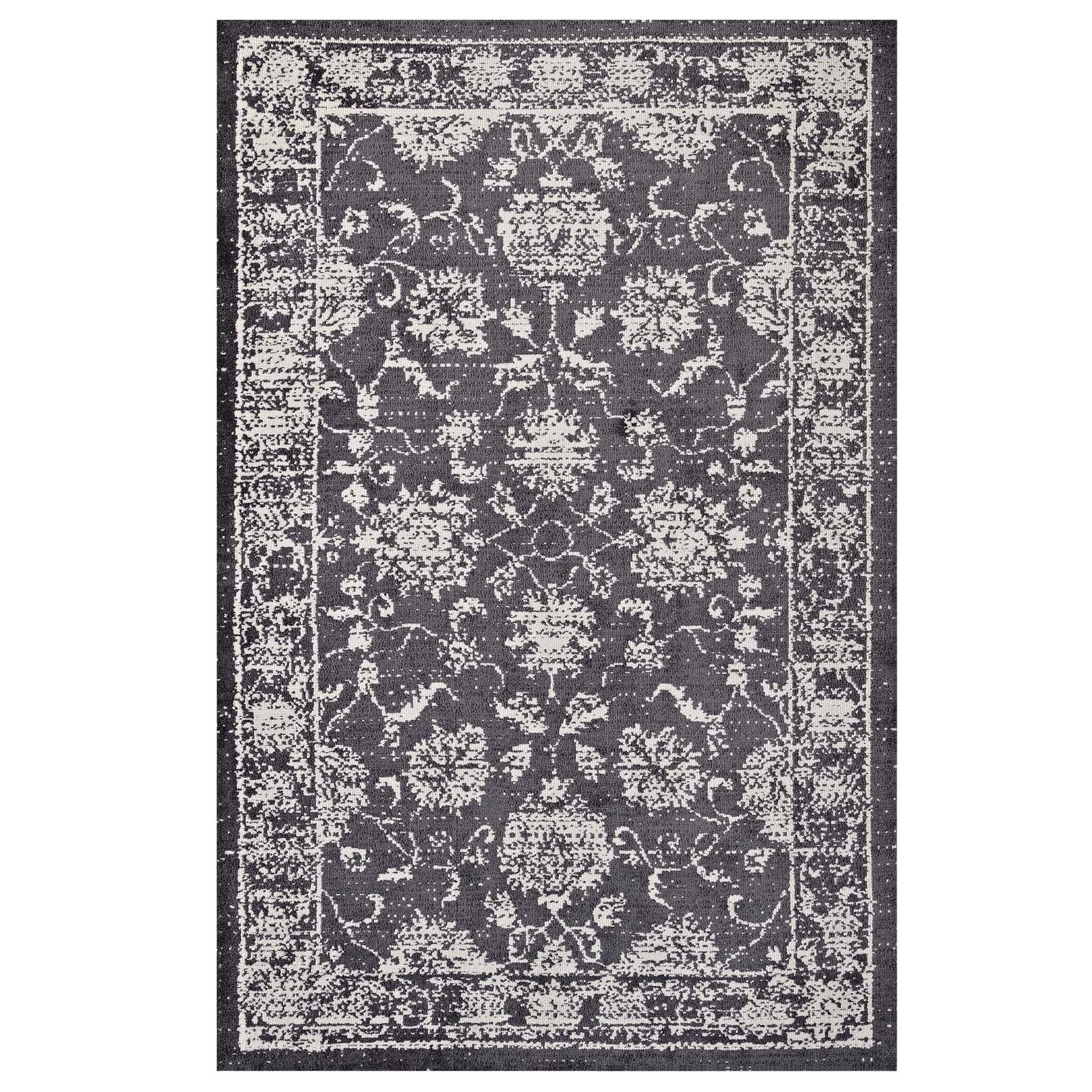 Kazia Distressed Floral Lattice 5x8 Area Rug Dark Gray and Ivory R-1020A-58