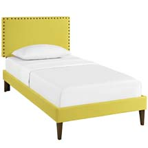 Phoebe Twin Fabric Platform Bed with Squared Tapered Legs