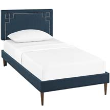 Josie Twin Fabric Platform Bed with Round Tapered Legs