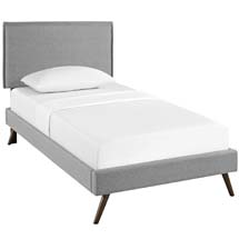 Camille Twin Fabric Platform Bed with Round Splayed Legs