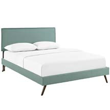 Camille Queen Fabric Platform Bed with Round Splayed Legs