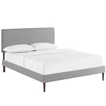 Camille Queen Fabric Platform Bed with Round Tapered Legs