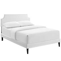 Laura Full Vinyl Platform Bed with Squared Tapered Legs