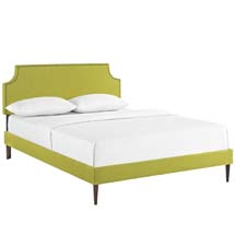 Laura Full Fabric Platform Bed with Round Tapered Legs