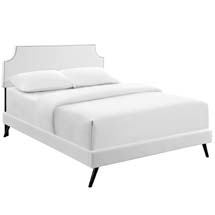 Laura King Vinyl Platform Bed with Round Splayed Legs