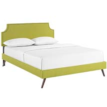 Laura King Fabric Platform Bed with Round Splayed Legs