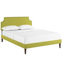 Laura King Fabric Platform Bed with Squared Tapered Legs