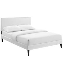 Phoebe King Vinyl Platform Bed with Squared Tapered Legs