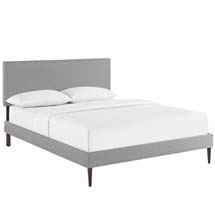 Phoebe King Fabric Platform Bed with Round Tapered Legs